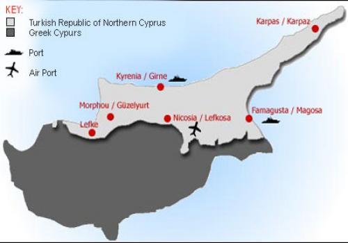 Карта Турецкой Республики Северного Кипра